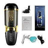RCCYG Masseur poussée puissants entièrement automatiques, Rechargeables par USB Automatique Télescopique pour Hommes Chauffant avec Fonction d'Aspiration comme (Sex y)