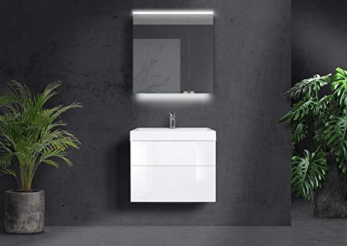 Intarbad ~ Badmöbel Set 70 cm grifflos, Waschtisch Evermite, Spiegelschrank Led mit Doppelspiegeltüren Anthrazit Matt Lack IB1822