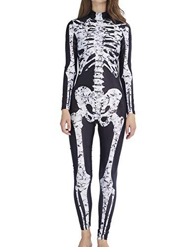 AIDEAONE Disfraz de Halloween Señoras Esqueleto Mono Huesos Esqueleto Traje Carnaval Negro L