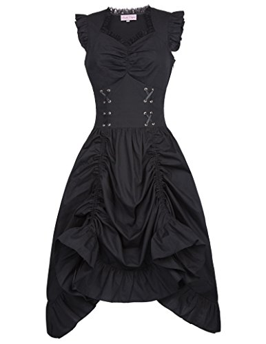 Belle Poque Women Steampunk Victorian Punk Pirate Dress Gothic Costume M Black