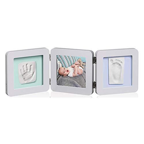Baby Art My Baby Touch Double Porta Foto con 2 Kit Impronte per Mani e Piedi del Neonato, Regalo Nascita o Bomboniera per Battesimo, Colore Pastello