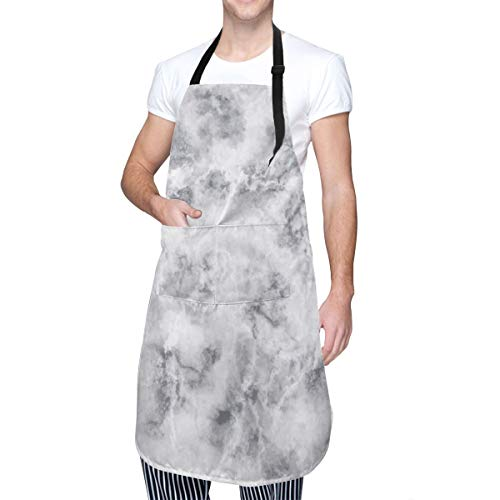 COFEIYISI Delantal de Cocina Impresión de detalles tormentosos de granito de mármol Delantal Chefs Cocina para Cocinar/Hornear