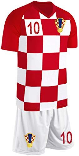 Blackshirt Company Kroatien Kinder Trikot Set Fußball Fan Zweiteiler Rot Weiß Größe 140