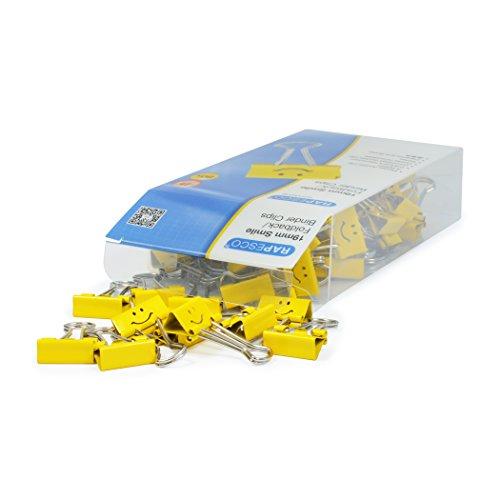 Rapesco Accesorios - Caja de 80 pinzas / clips de 19mm, hasta 75 hojas con sonrisas amarillas