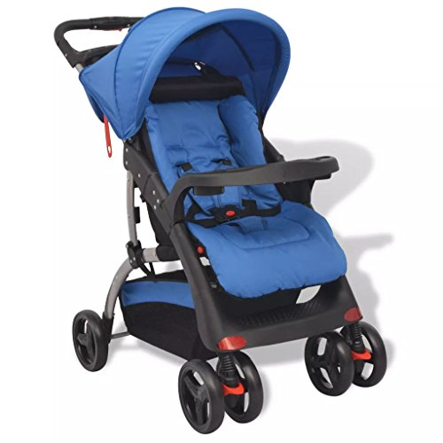 vidaXL Buggy Kinderwagen Sportwagen Babywagen Kinderbuggy Blau 102x52x100 cm