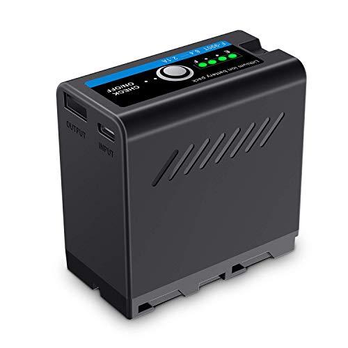 FOMITO Multifuncional Pack de Batería Externa NP-F990T Recambio Para sony NP-F970, NP-F975, NP-F960, NP-F950, NP-F930, Con USB Salida Para Smartphone