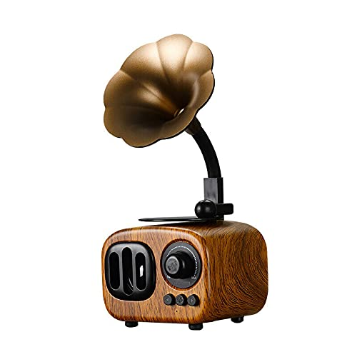 Cakunmik Tamaño de la Palma de Altavoz Bluetooth inalámbrico portátil con diseño Retro de fonógrafo, batería Recargable incorporada