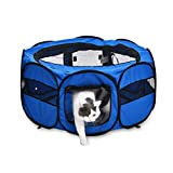 AmazonBasics Portable Soft Pet Dog Travel Playpen, Small (35 x 35 x 24 Inches), Blue