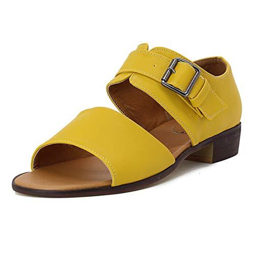 Las Mujeres bloquean Las Sandalias del talón de la Correa del Tobillo de Verano Zapatos de tacón conciso Playa de pies Abiertos Zapatos de Vestir