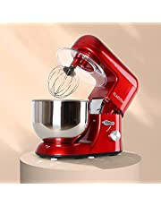 Klarstein Bella Rossa keukenmachine-mixer (1200 watt, 5,2 liter mengkom, 6 versnellingen) rood