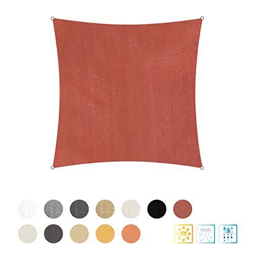 Lumaland Sonnensegel inkl. Befestigungsseile, 3 x 3 m Quadrat 100% HDPE mit Stabilisator für UV Schutz Terracotta