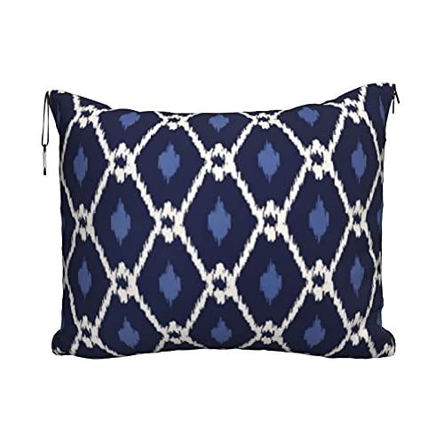 Manta de viaje y almohada, juego de almohada y manta de viaje, manta de viaje compacta, suave, 2 en 1, diseño de diamantes Ikat azul y blanco