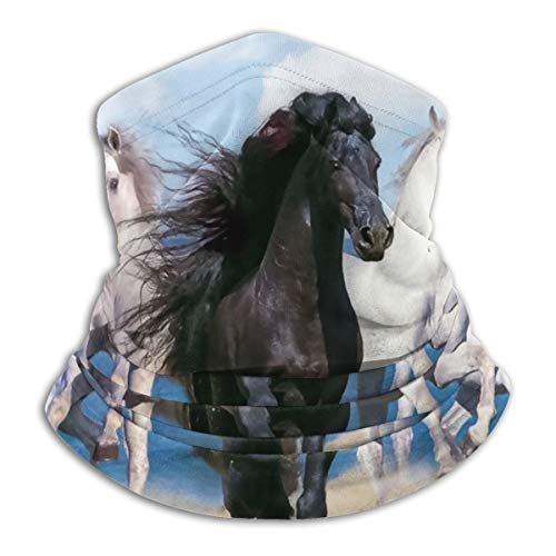 SARA NELL Running Horses Black And White Neck Gaiter Headwear Face Sun Mask Magic Scarf Bandana Balaclava Headband For Men Women Cycling Fishing Motorcycling Running Skateboarding