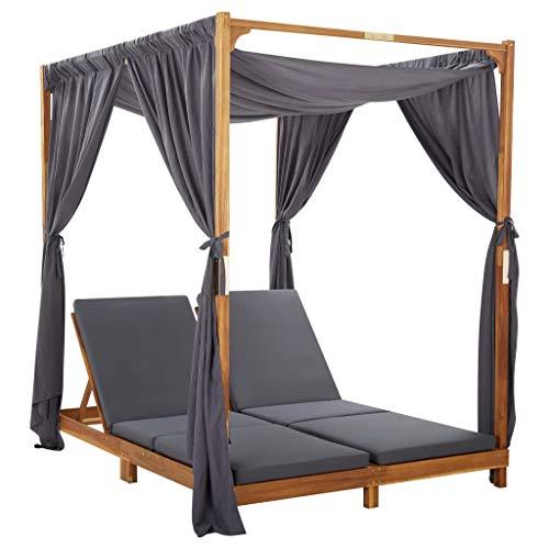 vidaXL Akazienholz Massiv Doppel Sonnenliege mit Vorhängen Auflagen Doppelliege Gartenliege Relaxliege Gartenmöbel Liege Lounge Terrasse