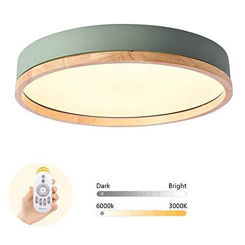 Plafonnier en bois Lampe de chambre à coucher LED ronde pour enfants Lampe de plafond de salon dimmable Minimaliste Moderne Petit appartement Cuisine Métal Lumière 24W