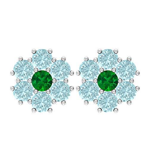 Pendientes de tuerca de 0,84 quilates, piedra preciosa redonda de 3 mm, 3 mm, topacio azul cielo, diseño floral de oro, regalo de San Valentín para ella, tornillo verde