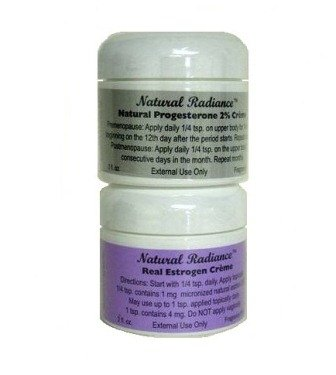 Natural Radiance Estro Pack (Bioidentical) = Two 2 oz. Jars - One Progesterone & One Real Estrogen/Estriol Creme - 2 Menopause Products in One Package   Made in The USA