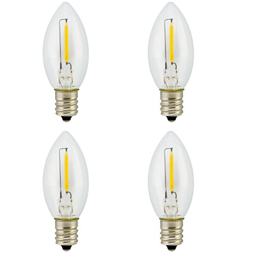 Promotion! Landlite Night Light Bulb LED C7 1W, Bullet / Candle Shape LED Bulb 120V 1W E12 Candelabra Screw Base , Accent Wall Night Light / Window Candles/Christmas Villages Replacement Bulb, 4Pack