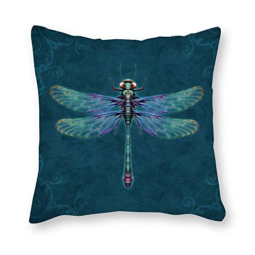 Yilooom Blue Dragonfly Canvas Square Throw Pillow Cases Cushion Covers For Bed Sofa Couch Car Home Decor 12 X 12 Inch