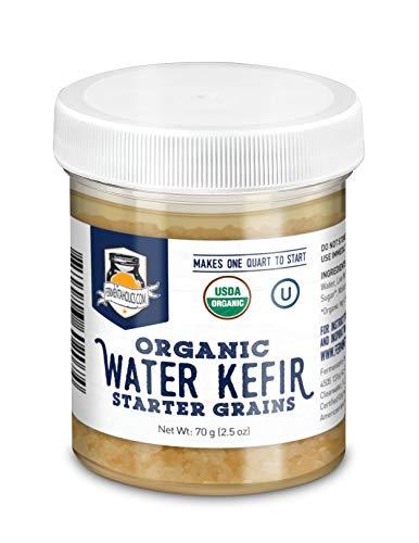 Fermentaholics ORGANIC Water Kefir Grains - Live Starter Culture - Makes a Quart Batch - 70 Grams of Starter Grains - Brew Your Own Water Kefir At Home