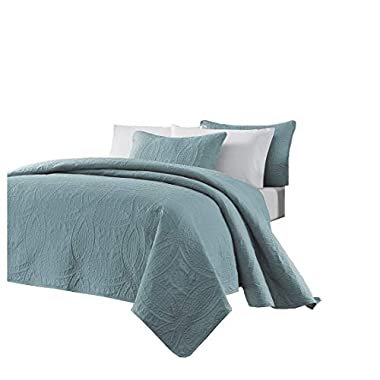 Chezmoi Collection Austin 3-Piece Oversized Bedspread Coverlet Set (Queen, Blue)