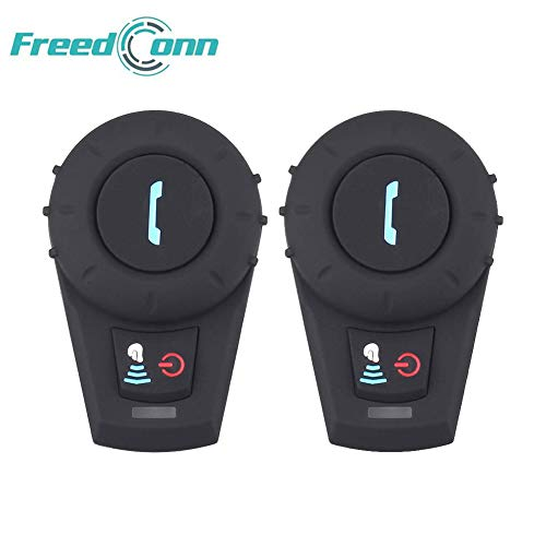 Motorrad Kommunikation System,FreedConn Helm Bluetooth Intercom,Helm Headset(500m Reichweite,Mp3-Musik hören,FM Radio,GPS-Sprachansagen,2er Set mit Weichem Kabel)