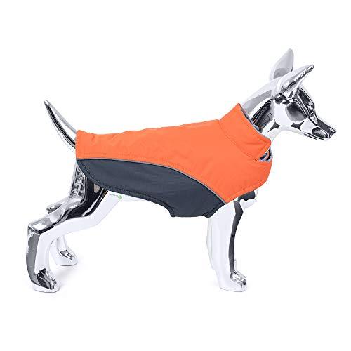 Mile High Life | wasserdichte warme Hundejacke | Kleine Hundejacke Einfacher Verschluss | Welpenmantel Reflektierende Streifen für Nachtspaziergang(Orange, M)