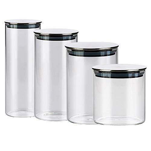 Vorratsgläser mit Deckel 3er Set - Vorratsdosen Borosilikatglas Gewürzgläser Luftdicht Glasbehälter aus Glasdose Mit Deckel Set Zur Aufbewahrung (4 PACK)