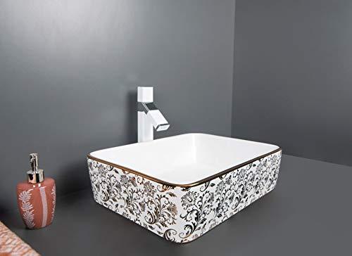 Design Keramik Waschtisch Aufsatz Waschbecken Waschplatz für Badezimmer Gäste WC, Aufsatzbecken Waschschale, Aufsatzwaschtisch handwaschbecken weiß goldfarben 48 x 37 x 13 Cm (BxTxH) rechteckige