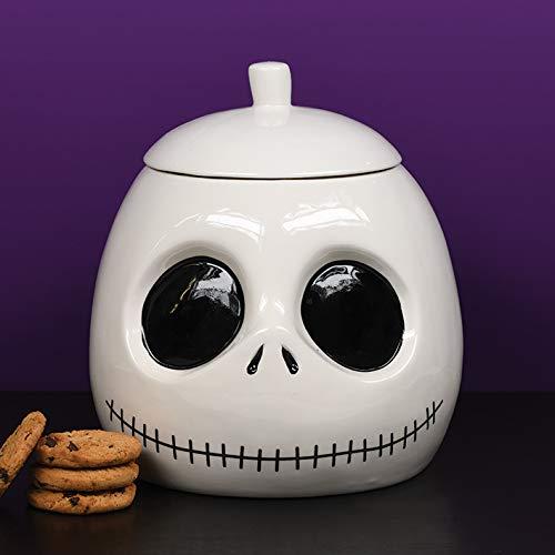 Nightmare Before Christmas Keksdose Jack Skellington weiß/schwarz, bedruckt, aus Keramik.