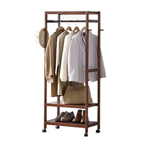 QYQYMJ kleerhangers van hout met 2 vakken en 4 haken van massief hout. 60/90 x 35 x 160 cm (bruin)