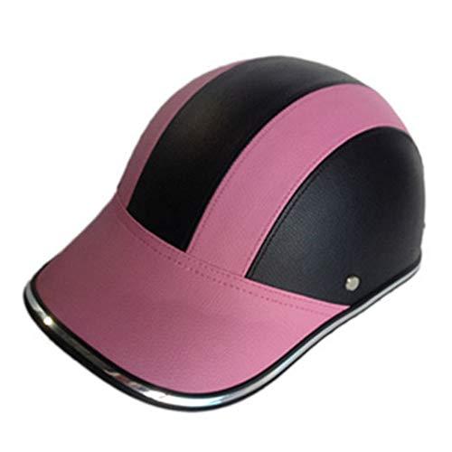 Motorradhelm, Sicherheits-Anti-UV-Radkappe, Verstellbarer Baseballkappen-Fahrradhelm mit Anti-UV-Visier, Helm-Rennrad, für MTB-Skaten(pink)