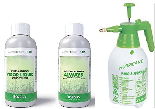 Bottos, Concime Fertilizzante per Prato Always 1 Lt + Biostimolante Vigor Liquid per Prato da 1 kg con Pompa Spruzzatore a Pressione 2L
