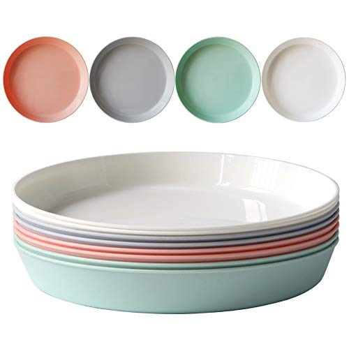 Greenandlife 8pcs/9.3inch Dishwasher & Microwave Safe PP Plates - Lightweight & Unbreakable,Non-toxin, BPA free and Healthy for Kids Children Toddler & Adult