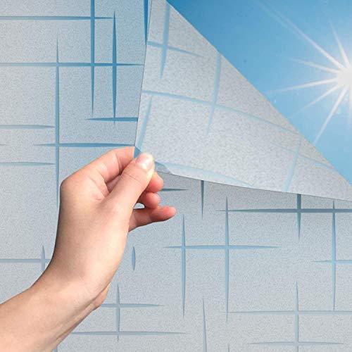 MARAPON® Milchglas Fensterfolie mit Sternenmuster [75x200 cm] inkl eBook mit Profitipps - Statische Haftung - Fensterfolie selbsthaftend Blickdicht - Sichtschutzfolie Fenster - Sichtschutz Bad
