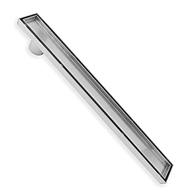ZOIC Linear Stealth Tile Insert Floor Grate Bathroom Shower Waste Drain 304 Stainless Steel Side Outlet 31.49 Inches (800MM)
