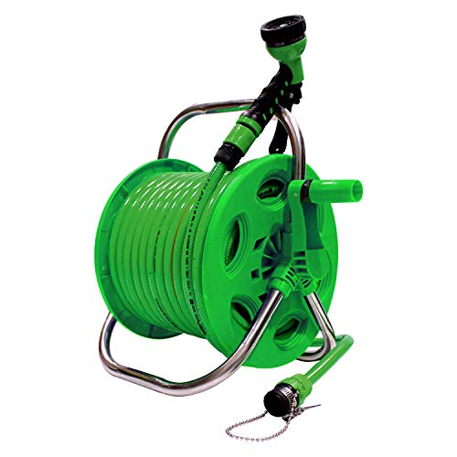 AquaHose Thermoplastic Garden Water Pipe Hose Reel 30 m 100 ft Folding Handle for Gardening Tools (Green)