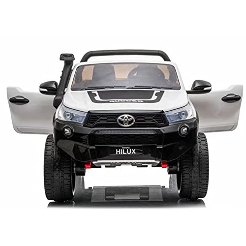 ATAA Toyota Hilux 850 24v biplaza - Blanco - Coche eléctrico para niños y niñas Grandes Todoterreno con batería de 24v y Mando para Padres