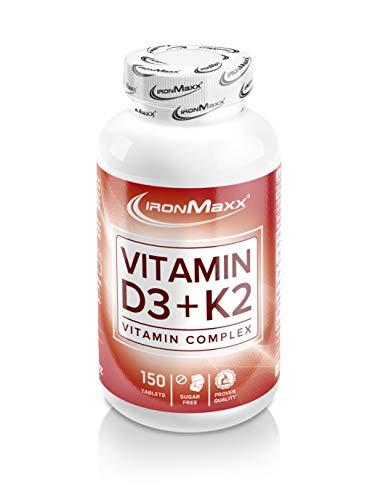 IronMaxx Vitamin D3 + K2 - 150 Tabletten - Hochdosierte Formel, besonders beliebt bei Kraft-Sportlern, Athleten und Body-Buildern - Zuckerfrei - Designed in Germany
