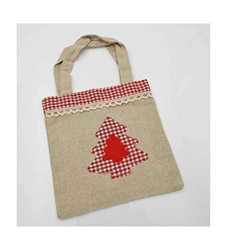 E+N Weihnachts-Tasche Stoff-Tasche Geschenke-Tasche Nikolaus-Tasche Jute-Tasche Weihnachten Advent Weihnachts-Baum Karo Spitze 17 x 17cm