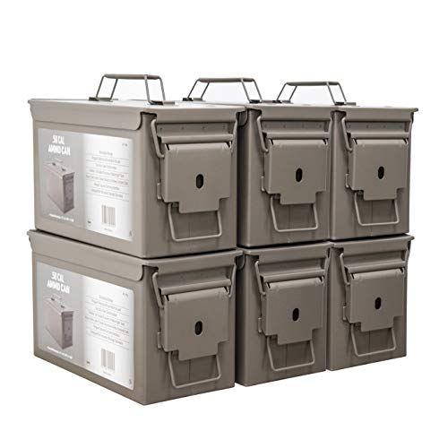 HOMESTEAD 6-Pack Metal Ammo Can in Desert Tan Color with New Steel Ammo Box Military and Army M2A1 Style for Long-Term Waterproof Ammunition & Valuables Storage