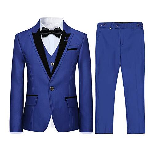 Jongens kostuum 3-delig klassiek slim fit bruiloft bal tuxedo jas broek en vest, 6 kleuren
