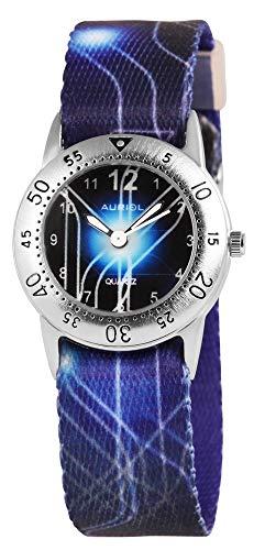 Auriol - Reloj de Pulsera para niños (analógico, Metal, Textil, Cuarzo), Color Azul y Negro