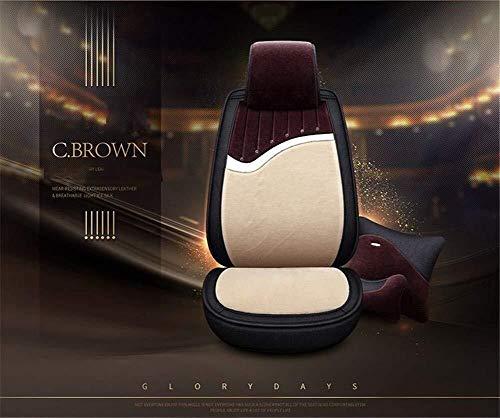Winter auto stoel kussen, zuivere wol auto stoelhoes/korte pluche warme stoel Cushion-geschikt voor de meeste vijfzits auto's Koffie