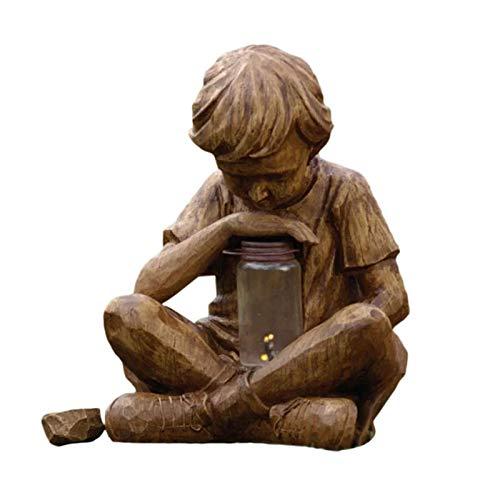 Finetoknow - Statua decorativa da giardino pasquale, motivo pasquale, motivo pasquale, in resina, con luce a LED, energia solare, pasquale