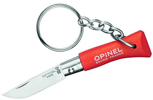 Opinel Mini-Messer, Schlüsselanhänger, Stahl 12C27, rostfrei, orangefarbener Holzgriff