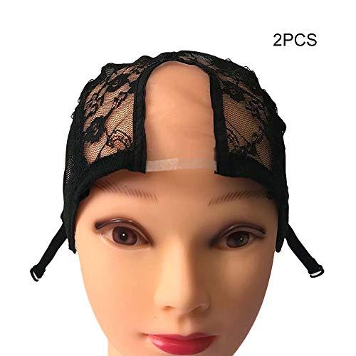 Alexsix 1/2/5 Stück Perücke Cap Lace Net mit verstellbaren Trägern Stretchy Mesh Perücke Caps für die Herstellung von Perücken