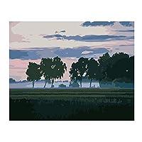 ナンバーキットでペイント DIYの油絵 大人用キッズビギナー40x 50cm(フレームなし)-霧の中の木