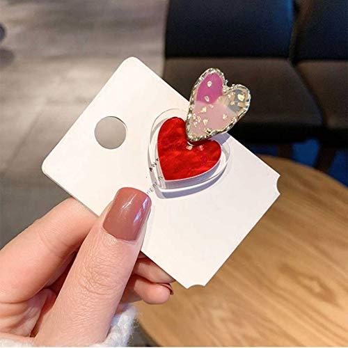 JJZXD Neue Trendige rote Herz simulierte Perle transparente Acryl Haarspangen Haarnadeln für Frauen Haarschmuck Haarnadeln (Color : B)