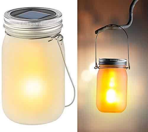 Luminea Solar Glas: Solar-LED-Hängelampe im Einmachglas, Flammeneffekt, Lichtsensor, IP44 (Einmach-Glas Solar-Fackel)